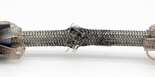Frayed whip test hose